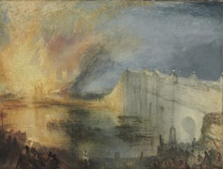 JMW Turner, The Burning of the House of Lords and Commons, October 16, 1834, 1835. Courtesy Philadelphia Museum of Art (Tim Brennan, Crusade, Day 25)