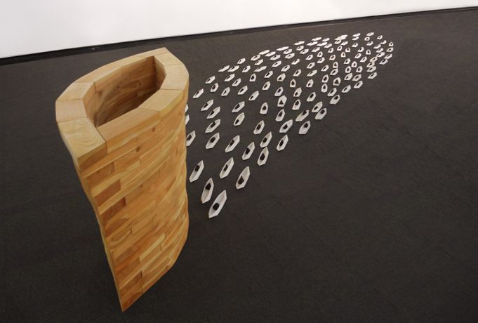 Foon Sham, Vessel of Hope, 2006, Installation with pine wood, paper, ink and tea leaves, Dimensions variable