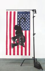 Awol Erizku (b. 1988) HOW THAT MAKE YOU FEEL?, 2017 Silkscreened American flag and metal flag stand 184.2 x 119.4 x 74.9 cm; (72 1/2 x 47 x 29 1/2 in.) Unique series of 5