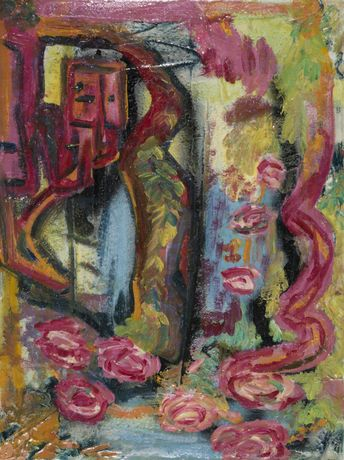 50 x 70 cm Pink Roses and Water Falls