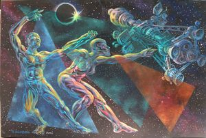 David Botello, Space Walkers , 2002. Acrylic painting, 36w x 24h. Copyright to the Artist 2002. Photo and image by David Botello