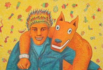 Gilbert Magu Luján, El Fireboy y El Mingo , 1988. Lithograph with Prismacolor hand markings. 44 1/4 x 30 inches. © The Estate of Gilbert Magu Luján.
