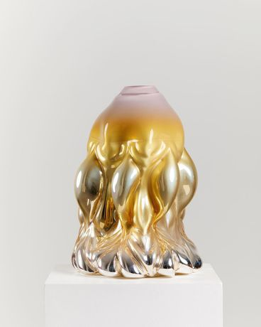 Dripping Print, golden rose metallic. 2019. Hand blown glass. 54 x 26 x 22 cm by Hanna Hansdotter