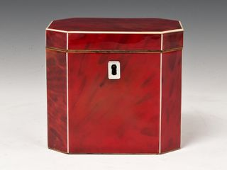 Hampton Antiques, Red Tortoiseshell Tea Caddy, Circa 1790