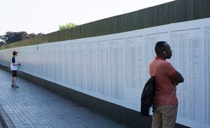 The List of 34,361 documented deaths of asylum seekers, refugees and migrants who have lost their lives within or on the borders of Europe since 1993. Documentation as of 5 May 2018 by UNITED for Intercultural Action. Facilitated by Banu Cenneto?lu. Presented at Great George Street, Liverpool Biennial 2018. Photo: Mark McNulty