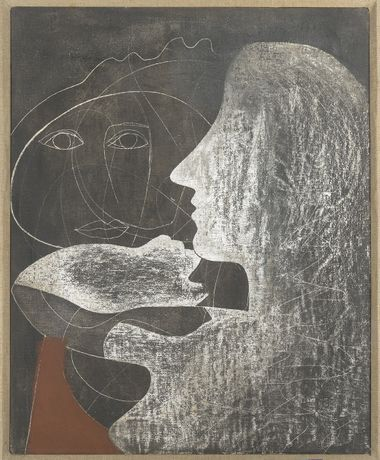 BEN NICHOLSON 1933 (girl at mirror) Oil and gesso on canvas laid on board