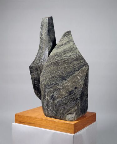 Barbara Hepworth, Two Rocks, 1971 (BH 536). Irish black marble, 1070 × 780 × 610 mm. On loan from The Hepworth Estate to The Hepworth Wakefield. Barbara Hepworth © Bowness, 2019. Photo: Prudence Cumings Associates