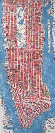 Barbara Macfarlane Long Manhattan Rosehip, 2017 oil and ink on handmade Khadi paper 200 x 80 cm, 78 3/4 x 31 1/2 in