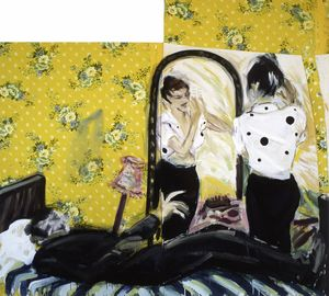 Couple in Sweet home 2-teilig, 1982, Acryl-Stoff, 225 x 203 cm