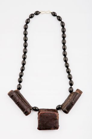 Belmacz, 'Samson Medi', antique Ethiopian leather scroll and Jet necklace