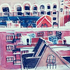 London roof tops - mixed media on glass