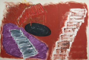 Basil Beattie Ascent 2012  Oil and wax on canvas 244 x 366 cm Courtesy Hales Gallery, London