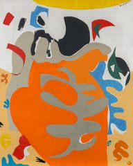 Beatrice Mandelman, Sea Shapes (#1), c. 1960s, oil on fiberboard, 60 x 48 in.