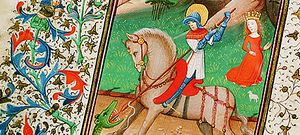 St George slaying the dragon (detail) from the Book of Hours, 14th century. Copyright Plymouth City Council (Arts and Heritage)