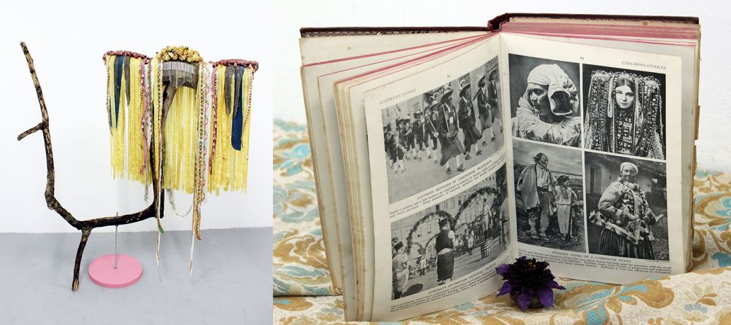 Georgia Hughes (left) Headdress for West Dean: I can't hear, I can't see you (2016); (right) An Orientalist Eye: Costumes From Around The World (Book, 1921) Installation (2016)