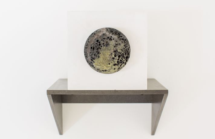 Jo Lathwood Lunar (2016) Volcanic glass (andesite) and plaster. Photograph by Paul Blakemore