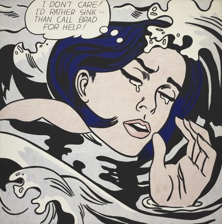 Roy Lichtenstein. Drowning Girl. 1963. Oil and synthetic polymer paint on canvas 67⅝× 66¾ in. (171.6 × 169.5 cm). The Museum of Modern Art, New York Philip Johnson Fund (by exchange) and gift of Mr. and Mrs. Bagley Wright, 1971. © Estate of Roy Lichtenstein New York. Adagp, Paris 2017