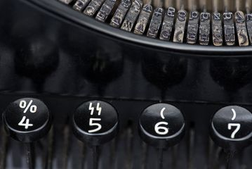 "Detail of typewriter ""Olympia"", Europa Schreibmaschinen AG Berlin, after 1933 © Stadtmuseum Berlin 