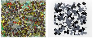 Left: Bernard Cohen, Octet, 2011, Acrylic on linen, Right: Nathan Cohen, Crossings, 2014, Acrylic paint on cut panel.