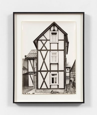 Bernd & Hilla Becher  Framework House, Siegen/Trupbach, Wickersbacher WEG 7, Germany, 1961  black and white photograph © Estate of Bernd and Hilla Becher. Courtesy Paula Cooper Gallery, New York. Photo: Steven Probert.
