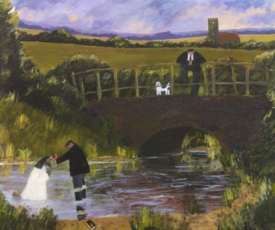 Gary Bunt.The Baptism of Christ, 2019. 22 x 26 cm. Oil on Canvas. Courtesy of the artist.