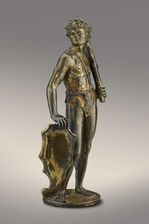 Bertoldo di Giovanni, Shield Bearer, ca. 1470–80. Gilded bronze. The Frick Collection