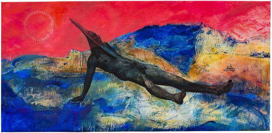 Cy Gavin, Aubade II (Spittal Pond), 2016. Acrylic, chalk and oil  on denim, 57 × 118in. (144.8 × 299.7 cm). Collection of Nick Cave, image courtesy of Sargent's Daughters