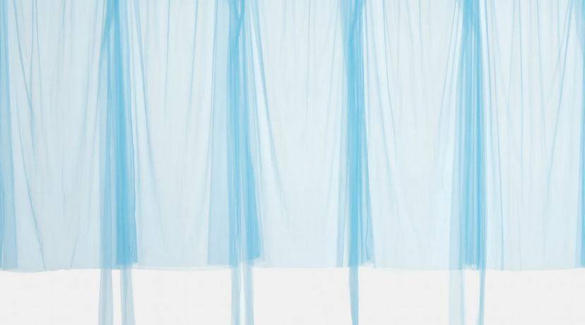 Blue Curtain, 2016, Tulle, 109 x 32 in. (sleeves 150 in) per unit (6 shown)  Top Handles/Stack, 2015, High fire ceramic and epoxy, 51 1/2 x 20 x 19 in.  Long Neck/Stack, 2015, High fire ceramic and epoxy, 53 x 20 x 18 in.  Pitcher/Stack, 2015, High fire ceramic and epoxy, 53 x 19 x 20 in.  Blue Arms, 2016, Verso of painted inkjet print on photographic paper, 73 3/8 x 45 1/4 in.  Blue Legs, 2016, Verso of painted inkjet print on photographic paper, 76 x 42 1/2 in.  Blue Curtain, 2016, Tulle, 109 x 32 in. (sleeves 150 in) per unit (6 shown)