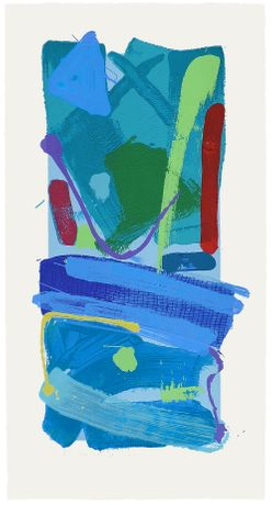 Blue Crayola - screen print with woodblock 88 x 46 cm