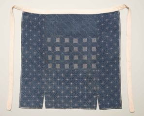 Apron (maekake), ca. 1900, Japan. Cotton; indigo dyed plain weave, embroidery (sashiko and chain stitches). Gift of Susan York, 2016.37