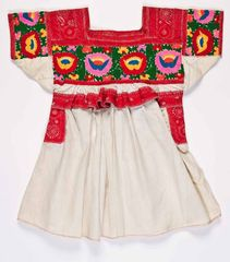 Woman's blouse ('huipil'), fourth quarter of 20th century, Mexico, Puebla, Chachahuantla, Nahua group. Cotton, synthetic; plain weave, machine embroidery (running and chain stitches), hand embroidery (encroaching satin and roman stitches). Gift of Cathy and Wayne Siewert, 2015.67.35