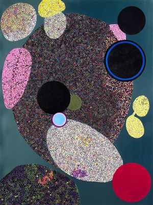 Bharti Kher, Dark Matter MM, 2015, Bindis on painted board, 244 x 183 cm © Courtesy the Artist and Perrotin