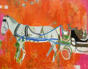 BIALA, Horse and Carriage, c.1983, oil and collage on canvas, 45 x 58 inches