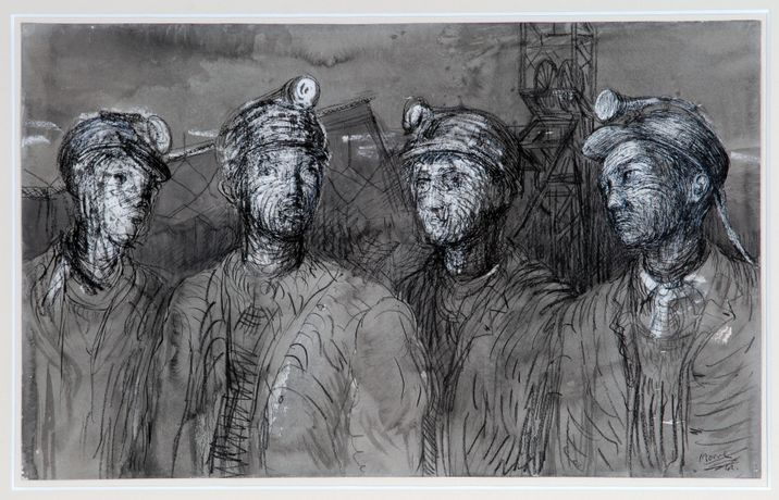 Pitboys at the pithead, Henry Moore, 1942, Pencil, wax crayon, pen and ink and wash on paper, The Hepworth Wakefield © The Henry Moore Foundation, UK