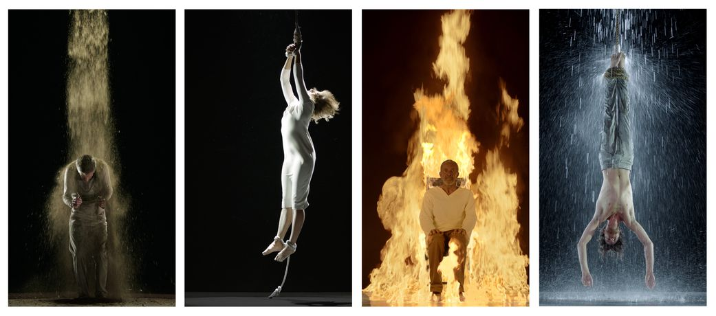 Earth Martyr, Air Martyr, Fire Martyr and Water Martyr (all 2014)  Four individual Colour High-Definition videos on flat panel displays mounted vertically on wall  All images © The Artist Courtesy of Bill Viola Studio and Blain|Southern  Photo credit: Kira Perov