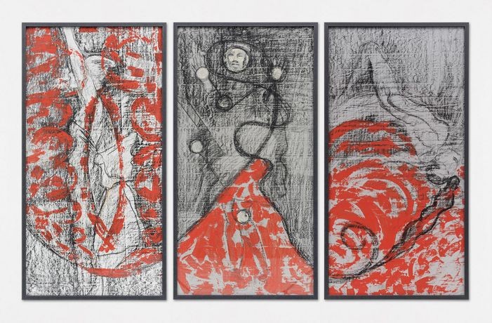 Birgit Jürgenssen Three sources of nocturnal light (Angel, Moon, Torch), 1987, Acrylic paint and chalk on linen 173.4 x 89.6 cm, 68 1/4 x 35 1/4 ins, each panel 173.4 x 277.8 cm, 68 1/4 x 109 3/8 ins, overall, framed © Estate Birgit Jürgenssen, Vienna