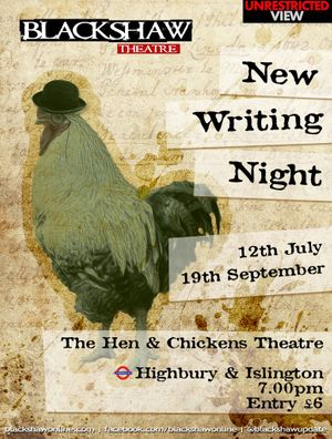 Blackshaw's Showcase Shortlist New Writing Night