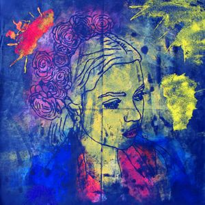 Blue Portrait Limited Edition Giclee Print by Natasha Nejman