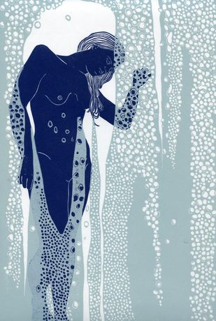 Nude Behind Shower Glass Linocut Limited Edition Print by Ellen Von Wiegand