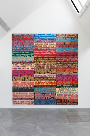 Bob & Roberta Smith, This artist is deeply dangerous, 2009, Signwriting enamel on found materials from Viking Bay, 140 x 120cm each (9 panels), courtesy of the artist and von Bartha