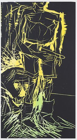 Georg Baselitz Big Night IV (Remix) 2008-2010, Woodcut, 113,5 x 69,5 cm , Edition of 6