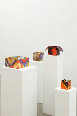 PIERRE BISMUTH, Origami boxes: one thing made of another, one thing used as another (Claude Monet, Gilbert & George, Wassilij Kandinsky, Gustav Klimt, Che Guevara), 2004, folded poster dimensions variable, Courtesy Christine König Galerie, Vienna and the artist,