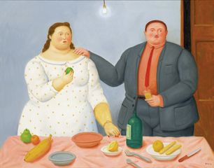 Fernando Botero, Still Life with Couple, 2013, Oil on canvas, 96 x 121 cm
