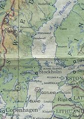 detail of world series map showing the original selection for the Gotland site, World Series 1968 - (Image copyright the Artists)