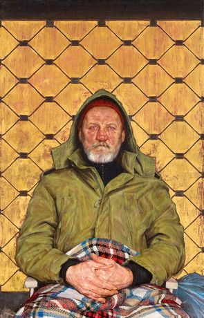 Thomas Ganter, Man with a Plaid Blanket, 2014