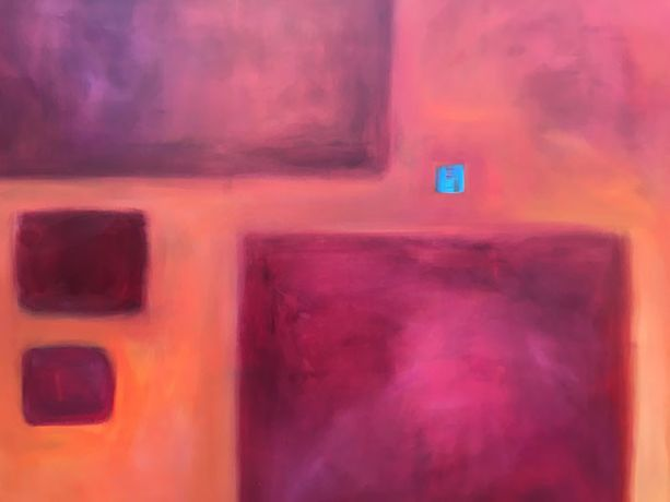 Little Blue Square, Acrylic, Angela Holden