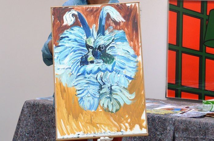 Image: Painting of a bunny by John Bratby, presented to the gallery at our Bring us your Bratby day.