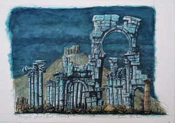 Palmyra Ghost, Baal Shamin, watercolour