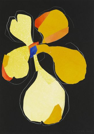 Night Orchid 203, acrylic, collage & white pencil on black card, 42 x 29.5 cm, 2014 © Brian Clarke, Courtesy Pace London