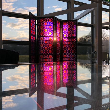 Fez, Pink, Brian Clarke The Art of Light at the Sainsbury Centre, supported and organised in association with HENI, © Christian Cunningham